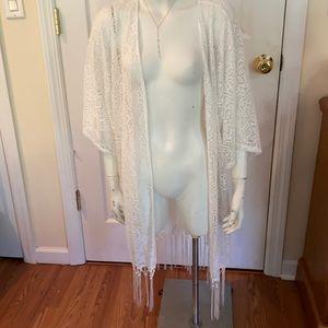 Sheer Lace Kimono/Cover Up w/ Silky Tassel Bottom